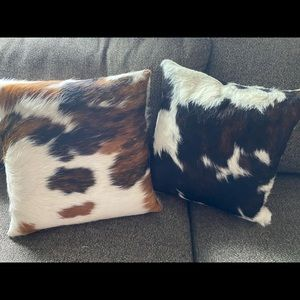 Genuine Cowhide Toss Pillows Set of 2